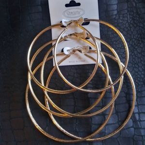 3 pair of 24k Gold Plated hoops